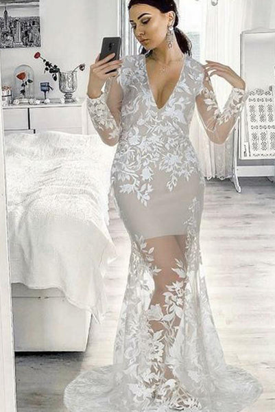 Mermaid Long Prom Dresses Gray Lace Evening Dresses Long Sleeves PDA223 | ballgownbridal