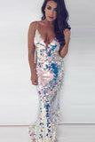 Mermaid Spaghetti Straps Sweep Train Metalic Sequined Backless Sleeveless Prom Dress LR151