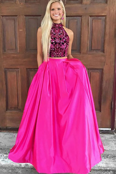 Two Piece High Neck Sweep Train Fuchsia Satin Open Back Prom Dress with Beading Pockets LR49