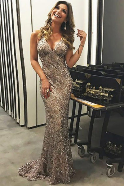 Mermaid Deep V-Neck Sweep Train Criss-Cross Straps Champagne Lace Prom Dress LR413