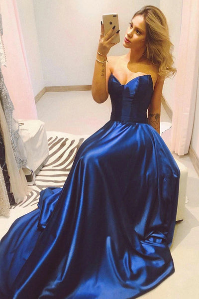 Strapless Navy Blue Satin A Line Long Senior Prom Dress PDA237 | ballgownbridal