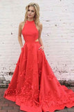 A-Line Jewel Sweep Train Red Satin Open Back Cut Out Appliques Pockets Prom Dress LR102