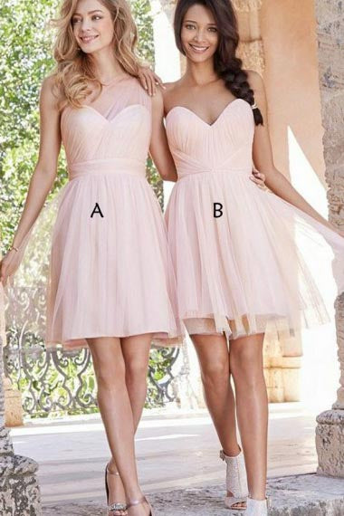 A-Line One-Shoulder Above-Knee Pink Tulle Sleeveless Bridesmaid Dress AHC619 | ballgownbridal