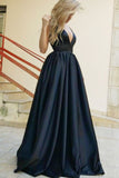 A-Line Deep V-Neck Backless Black Satin Prom Dress with Pockets PDA304 | ballgownbridal
