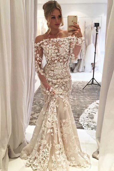 Mermaid Off-the-Shoulder Long Sleeves Ivory Tulle Wedding Dress with Appliques AHC581