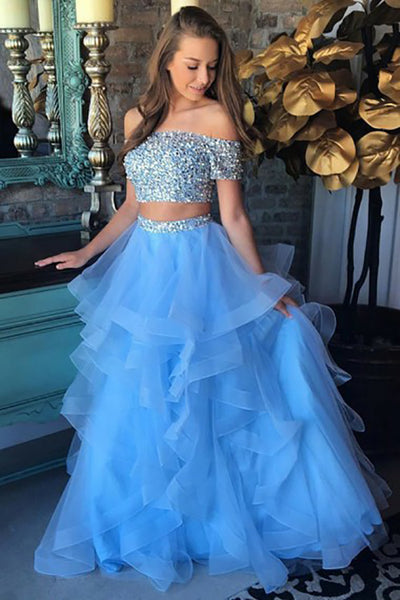 Two Piece Off-the-Shoulder Sweep Train Blue Tulle Prom Dress with Beading Ruffles LR57