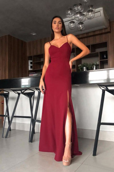 Sheath Spaghetti Straps Backless Floor-Length Dark Red Prom Dress with Split PDA352 | ballgownbridal