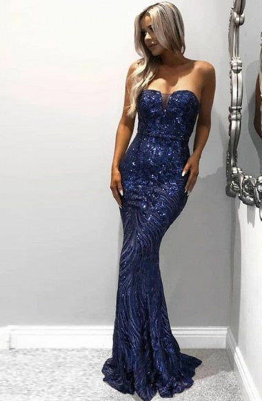 Mermaid Sweetheart Sweep Train Royal Blue Sequined Sleeveless Prom Dress LR219