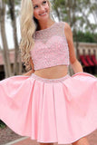 Chic Two Piece Bateau Pink Short Homecoming Dresses with Beading PDA105 | ballgownbridal