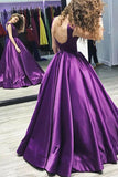 Ball Gown V-Neck Sweep Train Grape Satin Sleeveless Backless Prom Dress AHC522