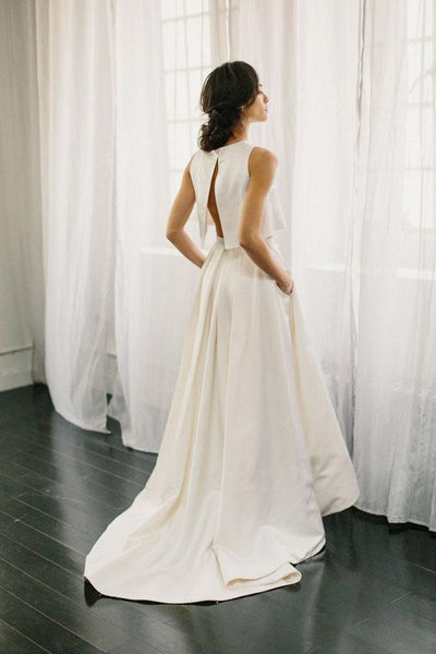 White Two Piece A Line Asymmetrical Sleeveless Satin Wedding Dress AHC564 | balgownbridal