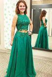 Two Piece Jewel Sweep Train Green Tulle Sleeveless Prom Dress with Appliques LR54