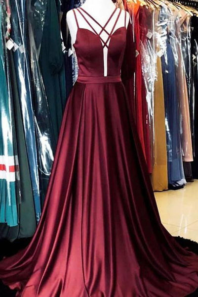 A Line Halter Burgundy Satin Long Prom Evening Dresses with Backless PDA010 | ballgownbridal