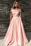 Pink Satin Off Shoulder A Line Floor Length Prom Dress PDA516 | ballgownbridal