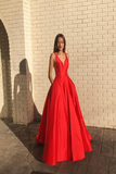 Red Long Prom Dresses,V-neck A-line Prom Dresses,Long Evening LR15