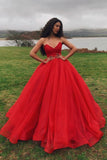 Ball Gown Sweetheart Lace Up Sweep Train Red Organza Prom Dress with Pleats PDA382 | ballgownbridal
