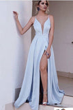 Blue A Line Brush Train Deep V Neck Sleeveless Side Slit Prom Dress AHC550 | ballgownbridal