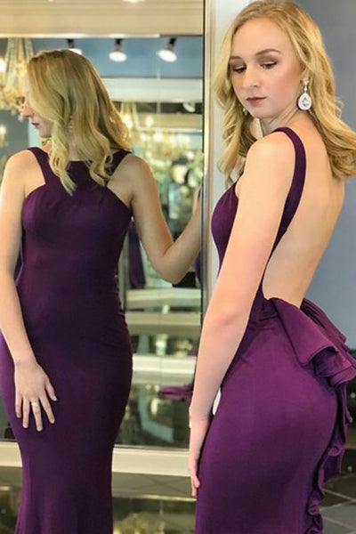 Mermaid Crew Sweep Train Grape Satin Backless Sleeveless Prom Dress with Ruffles LR131
