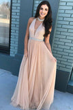 A-Line High Neck Sweep Train Champagne Keyhole Tulle Prom Dress with Beading LR253