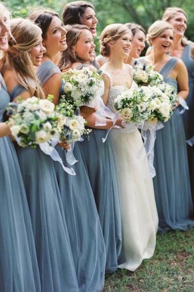 A-Line V-Neck Floor-Length Turquoise Tulle Bridesmaid Dress with Belt AHC650 | ballgownbridal