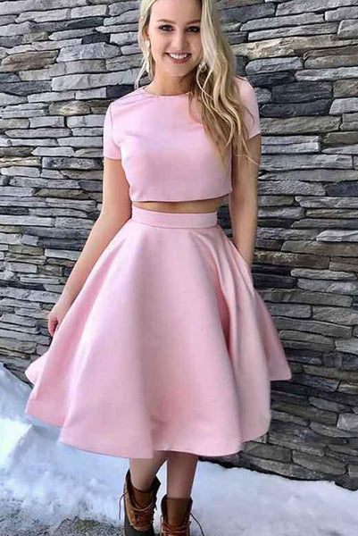 Simple Two Piece Pink Homecoming Dresses with Short Sleeves Ruffles PDA119 | ballgownbridal