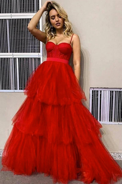 Red Tulle Sweetheart Spaghetti Straps Long Corset Prom Dress PDA437 | ballgownbridal