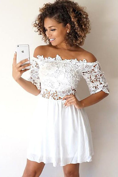 A-Line Off-the-Shoulder Half Sleeves White Homecoming Dress with Lace PDA074 | ballgownbridal