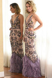 Mermaid Deep V-Neck Floor-Length Purple Satin Prom Dress with Beading Feathers LR206