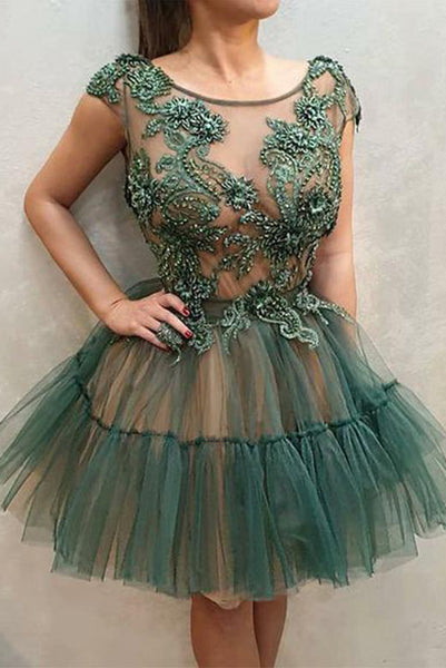 Green Short Homecoming Dresses Round Neck Appliques Party Dresses PDA137 | ballgownbridal