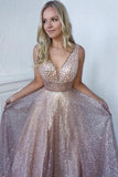 Bling A Line Deep V Neck Champagne Prom Dresses with Sequins ODA003 | ballgownbridal