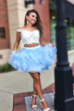 Two Piece Short Homecoming Dresses Blue Appliques Party Dresses PDA150 | ballgownbridal