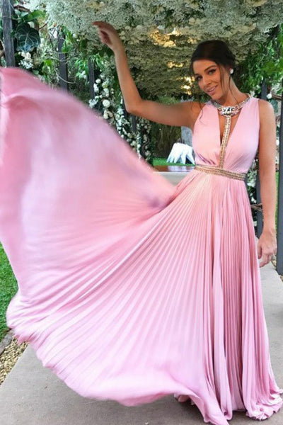 A-Line Deep V-Neck Floor-Length Pink Chiffon Prom Dress with Beading PDA458 | ballgownbridal