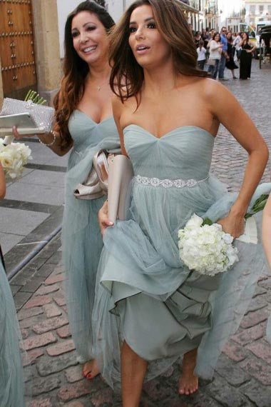 A-Line Sweetheart Floor-Length Sage Tulle Bridesmaid Dress with Beading AHC621 | ballgownbridal