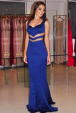 Mermaid V-Neck Sweep Train Royal Blue Satin Backless Prom Dress with Beading LR461