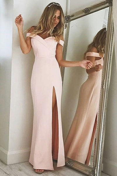 Sheath Off-the-Shoulder Pink Strech Satin Prom Dress with Split PDA464 | ballgownbridal