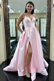 A-Line Straps Sweep Train Split Side Pink Satin Prom Dress with Beading Pockets LR321