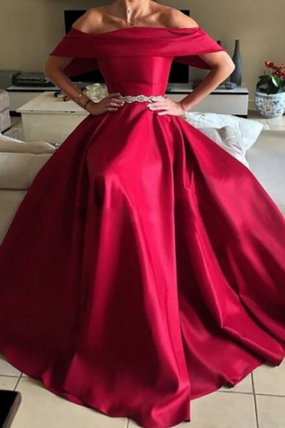 A-Line Off-the-Shoulder Sweep Train Red Satin Sleeveless Prom Dress with Beading LR237