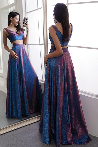 Two Piece Blue Long Prom Dresses V Neck Evening Dresses PDA013 | ballgownbridal