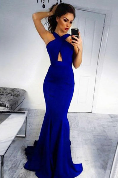 Mermaid Cross Neck Backless Sweep Train Royal Blue Prom Dress PDA299 | ballgownbridal