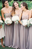 A-Line Strapless Floor-Length Grey Chiffon Bridesmaid Dress with Ruched AHC616