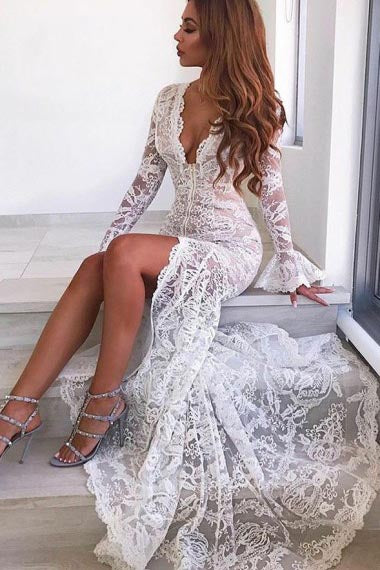 Mermaid Deep V-Neck Sweep Train Long Bell Sleeves White Split Lace Wedding Dress AHC574 | ballgownbridal