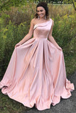 A-Line One Shoulder Pleated Pink Satin Prom Dress with Ruffle PDA466 | ballgownbridal