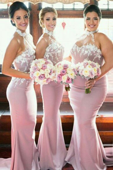 Mermaid High Neck Sweep Train Pink Satin Bridesmaid Dress with Appliques AHC631 | ballgownbridal