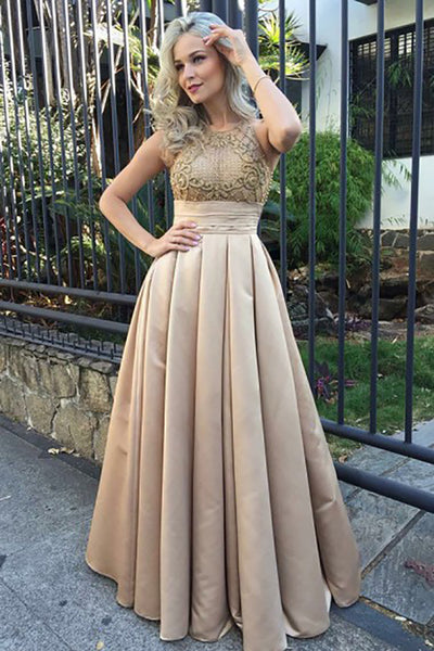 A-Line Jewel Sweep Train Champagne Satin Prom Dress with Appliques LR475