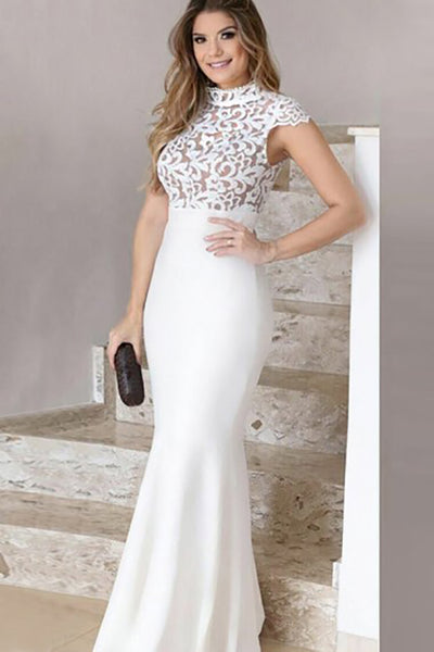 Mermaid High Neck Floor-Length White Stretch Satin Prom Dress with Lace LR467