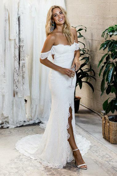 Mermaid Off-the-Shoulder Sweep Train Open Back Ivory Split Lace Wedding Dress AHC590