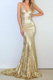 Mermaid Spaghetti Straps Sweep Train Criss-Cross Straps Gold Sequined Prom Dress AHC691 | ballgownbridal