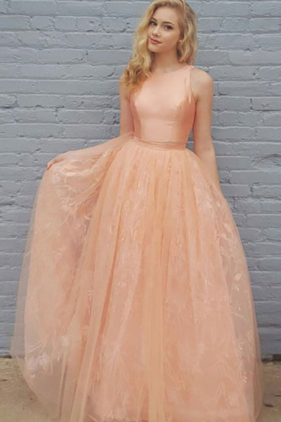 Two Piece Crew Sweep Train Peach Tulle Sleeveless Prom Dress with Lace LR101
