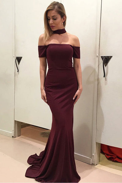 Mermaid Off-the-Shoulder Short Sleeves Sweep Train Wine Prom Dress PDA449 | ballgownbridal