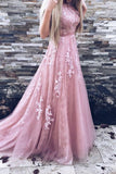 A-Line Crew Sweep Train Pink Tulle Prom Dress with Appliques Sash AHC689 | ballgownbridal